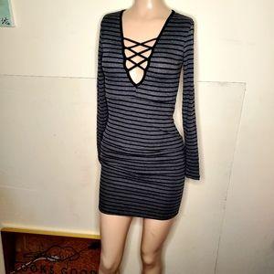 Thermal Striped Mini Dress